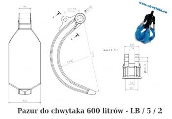 Pazury do chwytaka do złomu 600 litrów  5/2